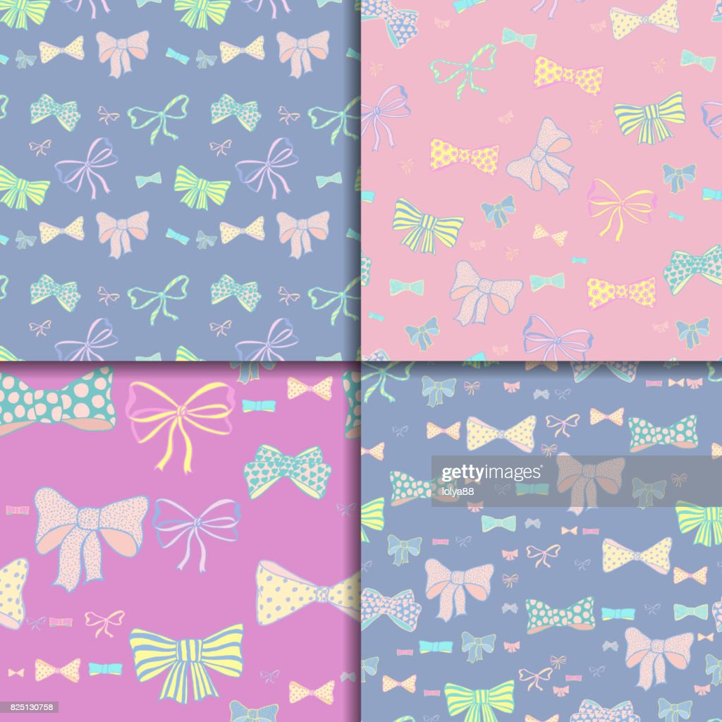 Seamless pattern set with skerchy bows