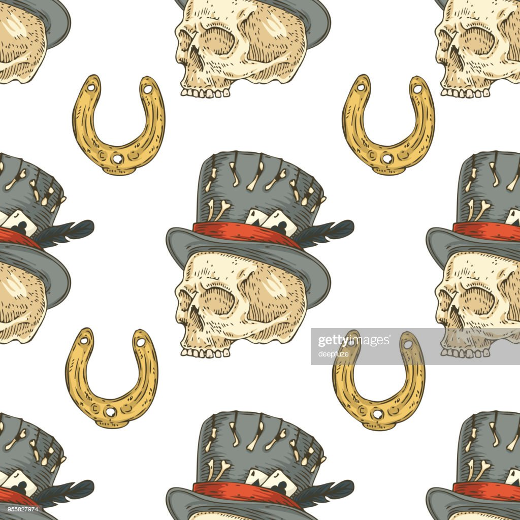 Seamless Pattern. Skull in Hat and Lucky Horseshoe