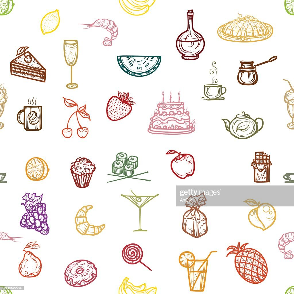 Seamless pattern snacks, fruit and dessert.