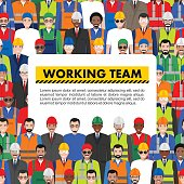Seamless pattern social, teamwork and working team concept of people communication in flat style. Group of workers, builders and engineers standing together. Different nationalities and dress styles