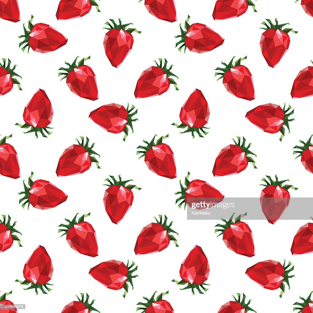 Seamless pattern strawberry. Polygon fruit. Vector : Vector Art