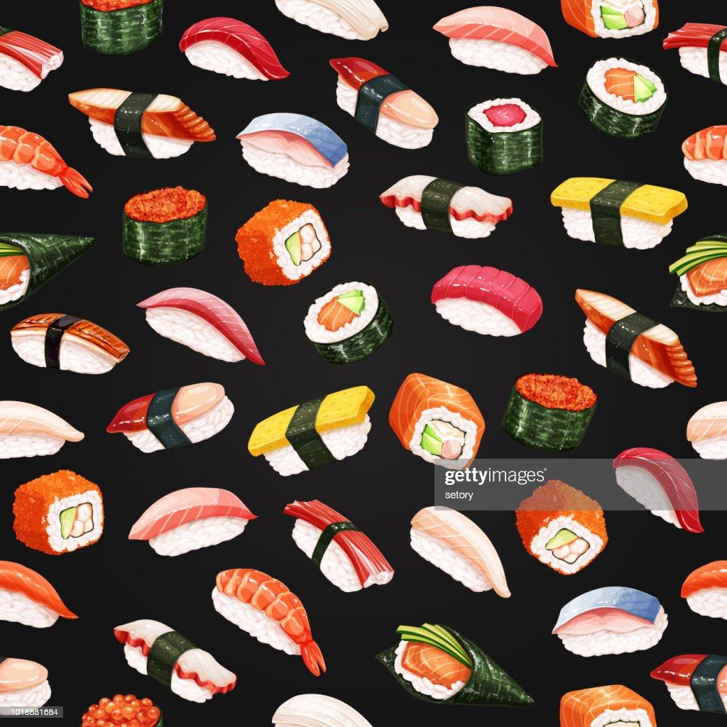 Seamless pattern sushi roll