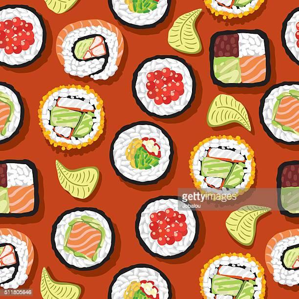 ilustraciones, imágenes clip art, dibujos animados e iconos de stock de patrón continuo de sushi - cultura coreana