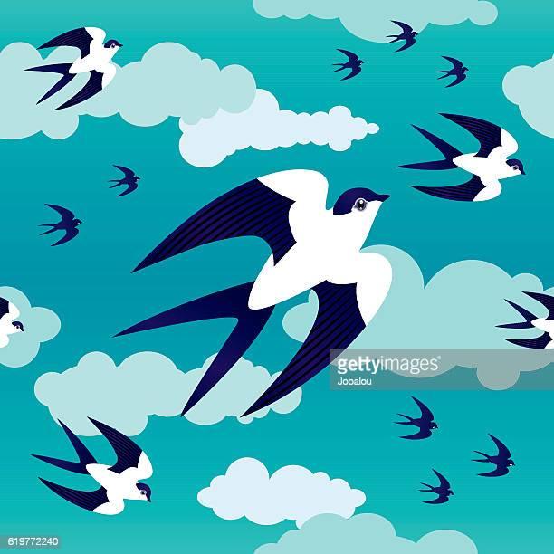 Seamless Pattern Swallows in Blue Sky