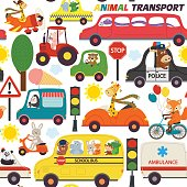 seamless pattern transports with animals