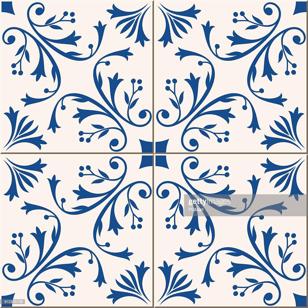 Seamless  pattern .  Turkish, Moroccan, Portuguese  tiles, Azulejo, ornaments.  Islamic Art.
