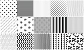 Seamless pattern vector black and white geometric textures