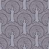 Seamless pattern, vector hand drawn repeating illustration, decorative ornamental stylized endless trees. Colorful abstract background, seamles graphic illustration Artistic line drawing silhouette