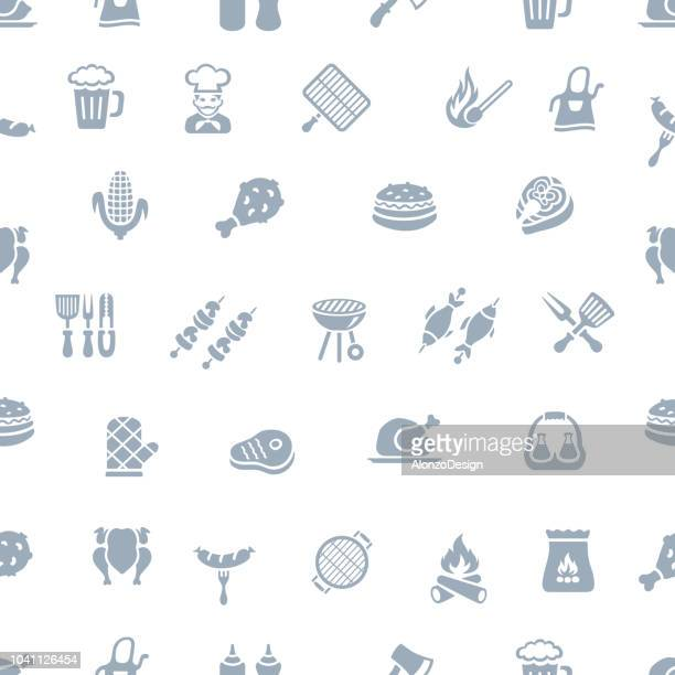 bbq seamless pattern - menu background stock illustrations
