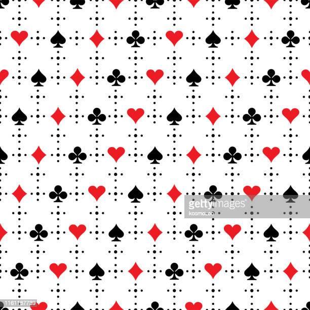 ilustrações, clipart, desenhos animados e ícones de teste padrão sem emenda - carta de baralho jogo de lazer