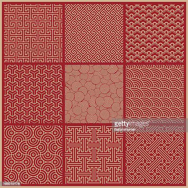 stockillustraties, clipart, cartoons en iconen met seamless pattern - china oost azië