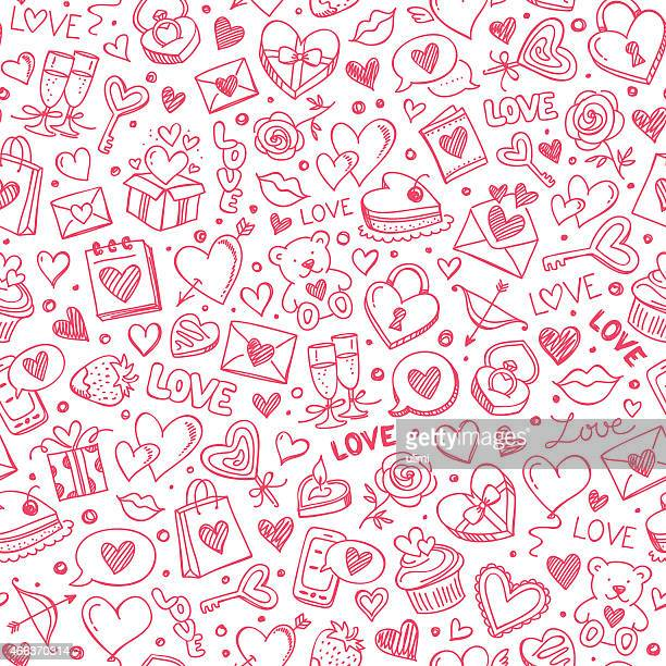 stockillustraties, clipart, cartoons en iconen met seamless pattern - liefde