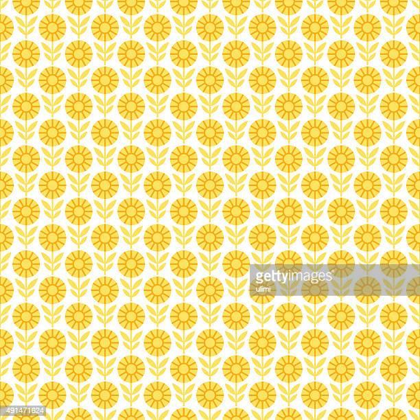 seamless pattern - sunflower stock illustrations, clip art, cartoons, & icons