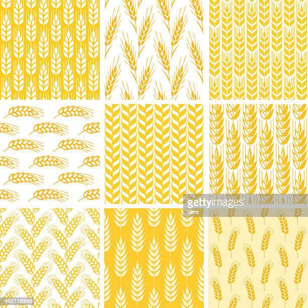 seamless pattern - barley stock illustrations, clip art, cartoons, & icons
