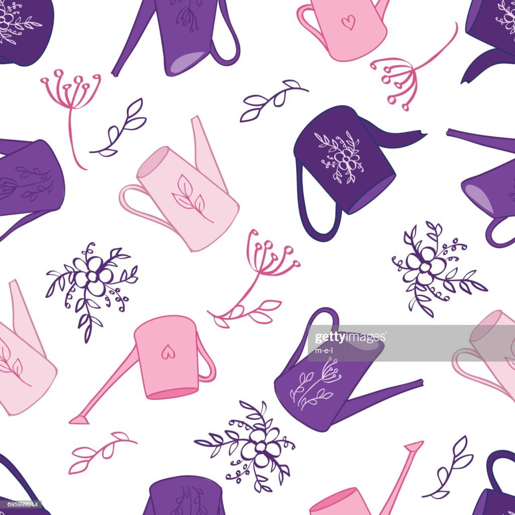 Seamless pattern, Watering can hand drawn vector doodle colorful sketch isolated on white background, Scrapbook vintage design gardening element for wedding invitation, greeting card, florist shop