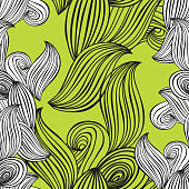 seamless pattern wave black and white hand-drawn lime green background for wallpaper, pattern fills, web page background,surface textures. Adult Coloring. Vector