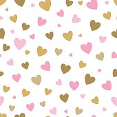 seamless pattern white background with pink and gold hearts. design for holiday greeting card and invitation of baby shower, birthday, wedding, Happy Valentine's day, and mother's day