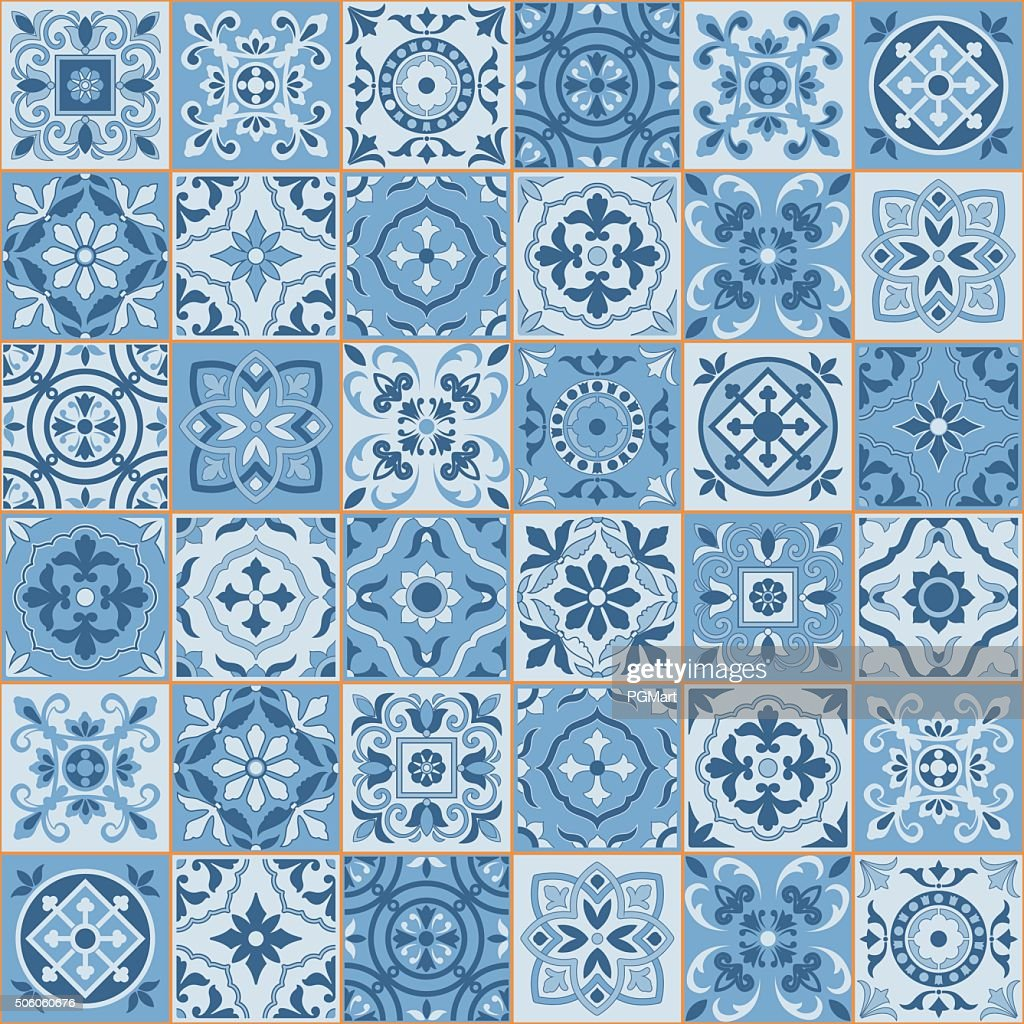 Seamless  pattern  white sereniti color Moroccan, Portuguese  tiles, Azulejo, ornaments.