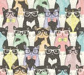 Seamless pattern wit cute hipster cats for children
