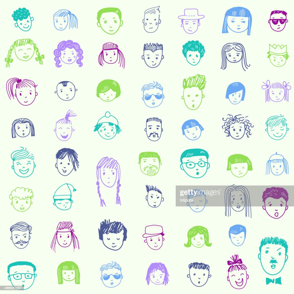 Seamless pattern with 53 different funny faces. Cartoon vector set.