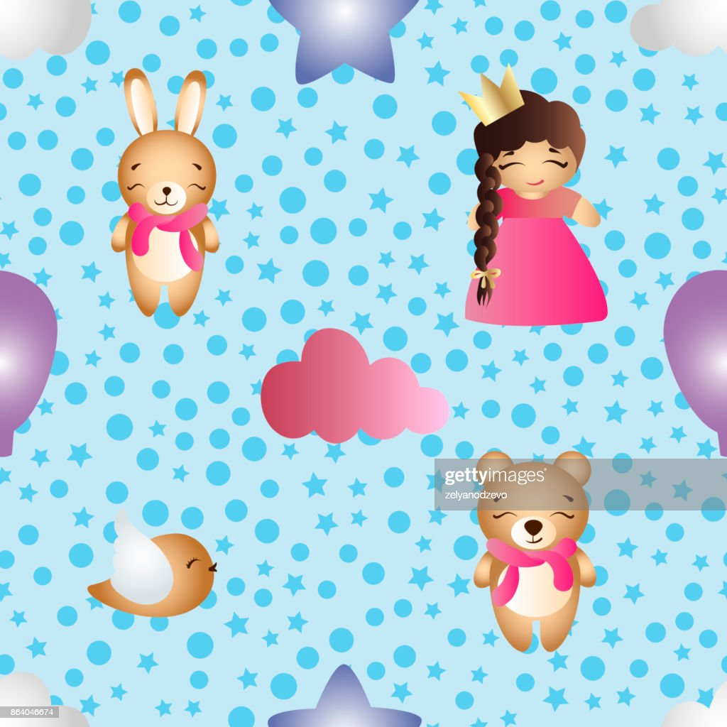 Seamless pattern with a cartoon cute toy baby girl bunny stars clouds bear and bird on a blue background with circles