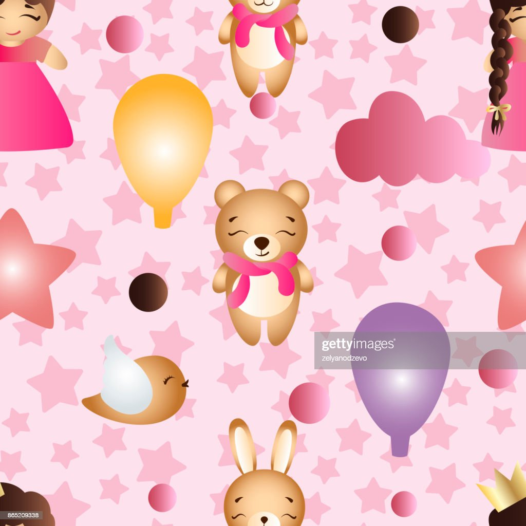 Seamless pattern with a cartoon cute toy baby girl bunny stars clouds bear and balloons on a pink background