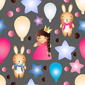 Seamless pattern with a cartoon cute toy baby girl bunny stars clouds bear and balloons on a gray background