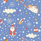 Seamless pattern with a Christmas angel and Santa Claus
