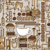 seamless pattern with a conveyor coffee production