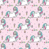 Seamless pattern with a hand drawn unicorn in a star-sunglasses, cocktail, cupcakes and lettering Unicorn