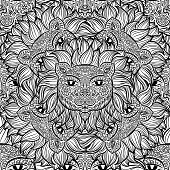 Seamless pattern with a lion heads on a white background. Hand drawn black and white vector pattern