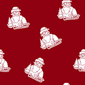 Seamless Pattern with a Santa Claus