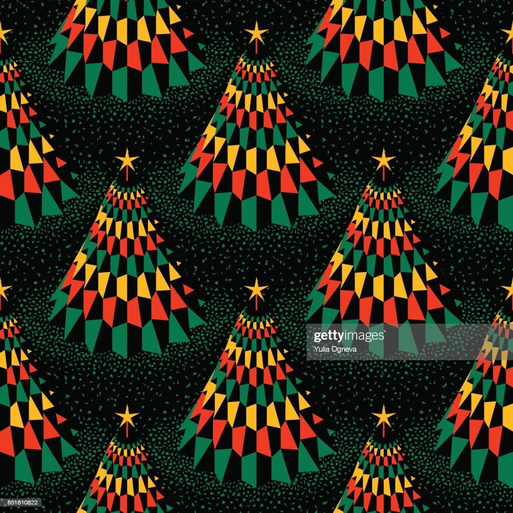 Seamless Pattern with Abstract Golden Christmas Trees on Black Background.