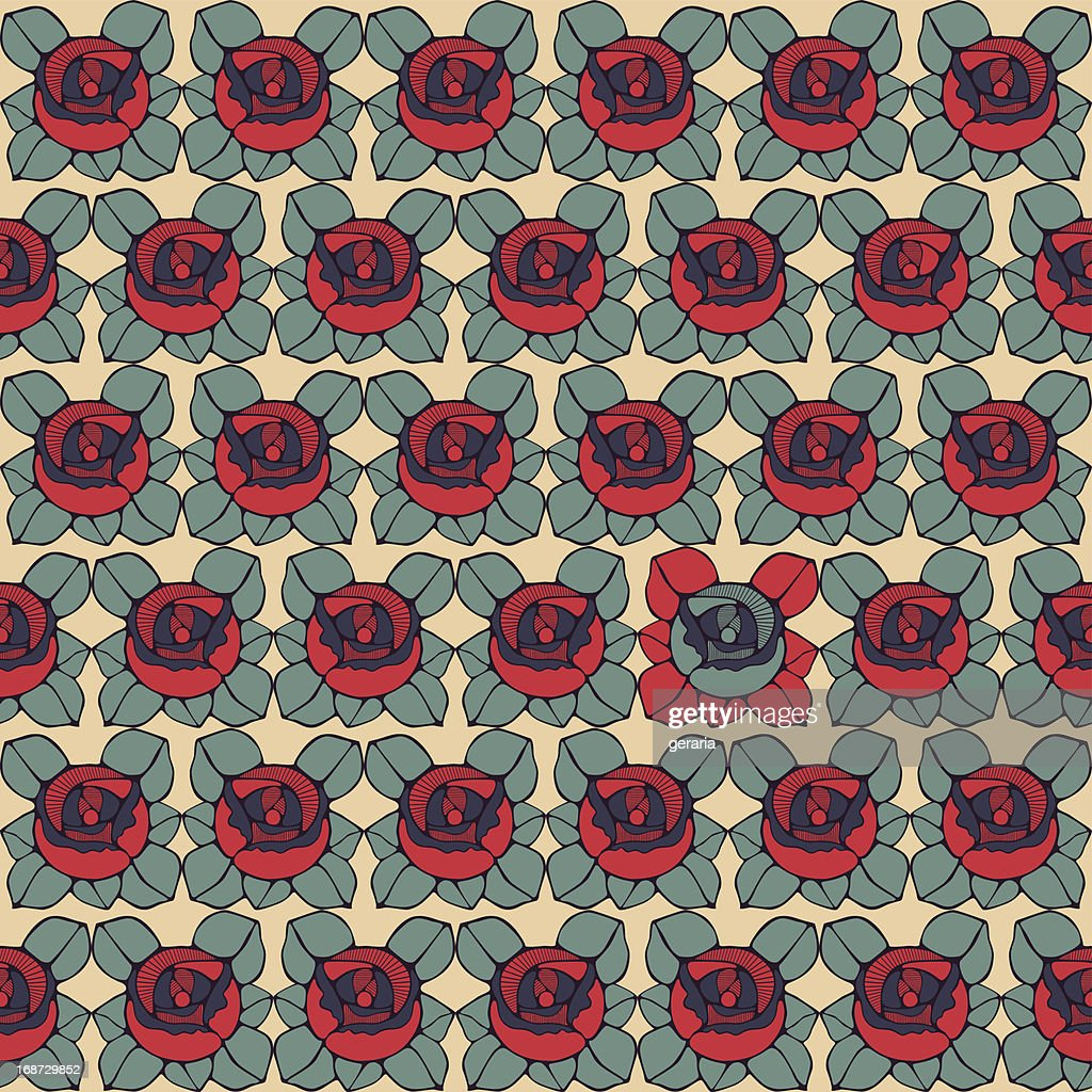 Seamless pattern with abstract roses flowers