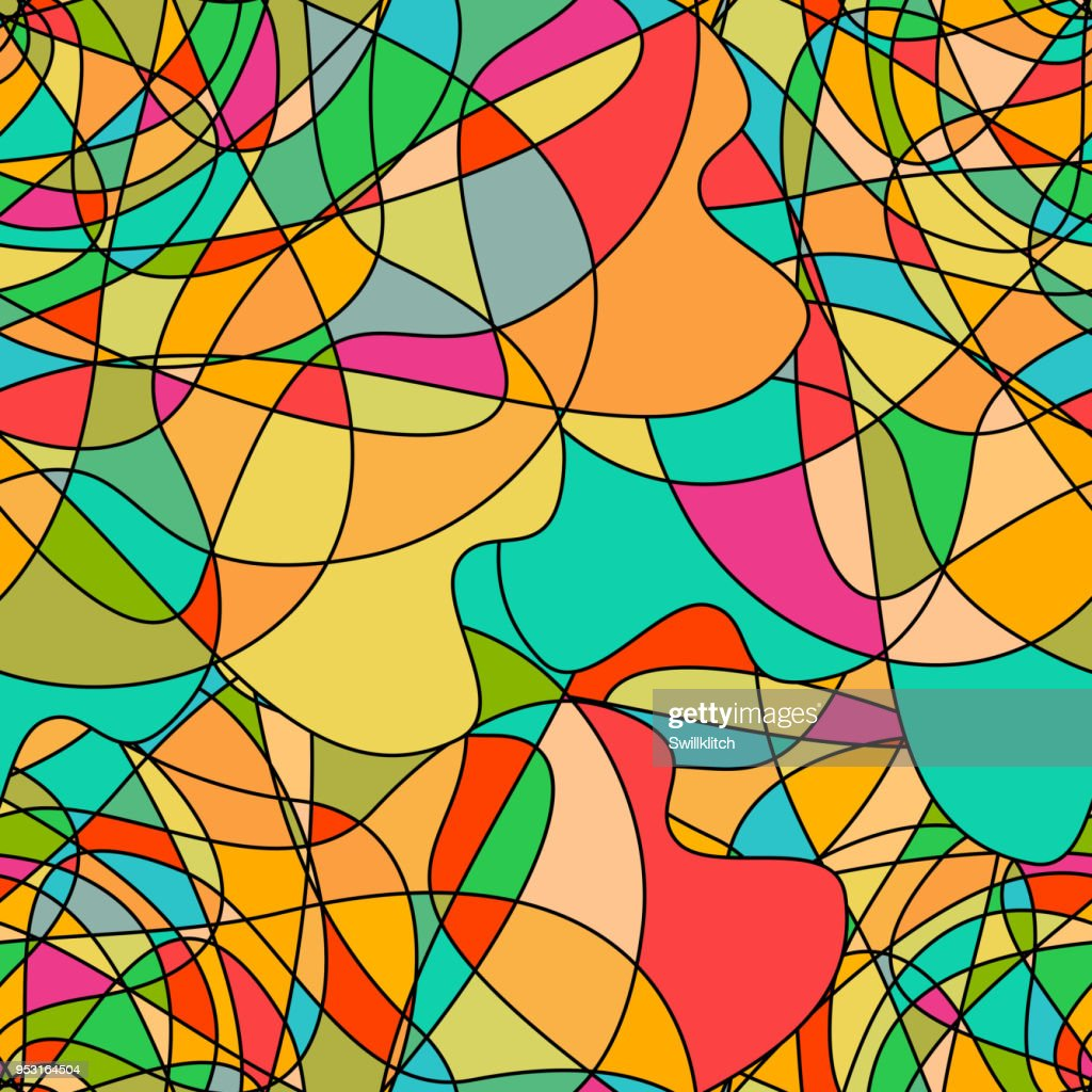 Seamless pattern with abstract swirling colorful shapes