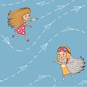 Seamless pattern with airplanes and girls.