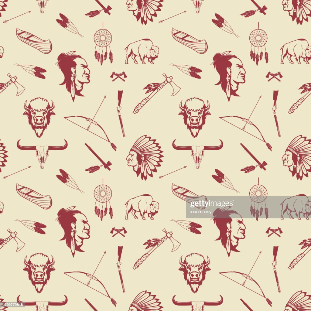 Seamless pattern with american Indian heads, weapon.