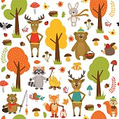seamless pattern with animals of forest on white background