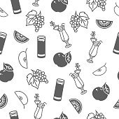 Seamless pattern with apple and grapes juice.