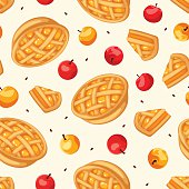 Seamless pattern with apple pies and apples. Vector illustration.