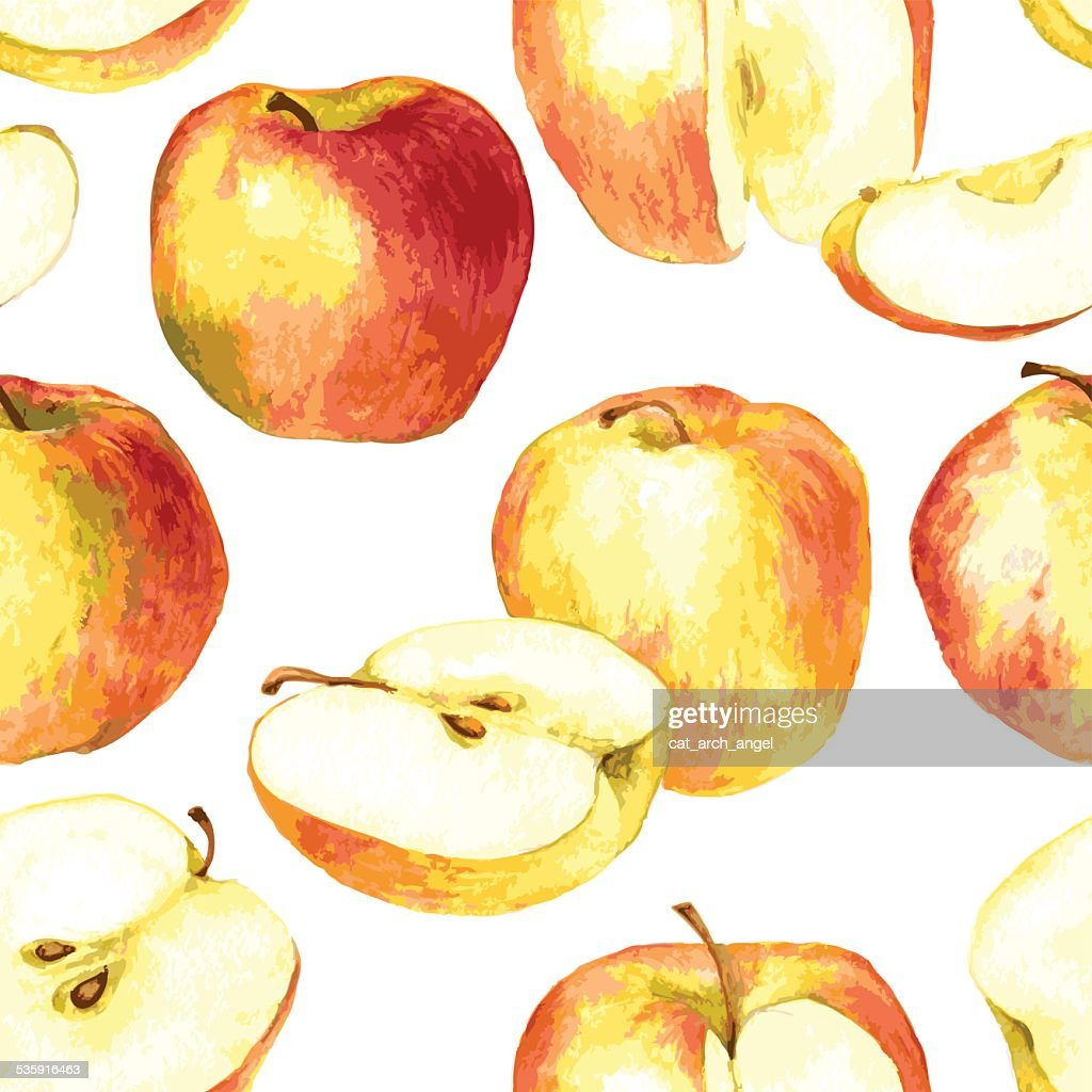 seamless pattern with apples drawing by watercolor : Vector Art