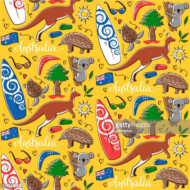オーストラリアのシンボルを使用したシームレスなパターン - ユーカリの木点のイラスト素材/クリップアート素材/マンガ素材/アイコン素材