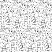 Seamless pattern with baby hand drawn doodle elements