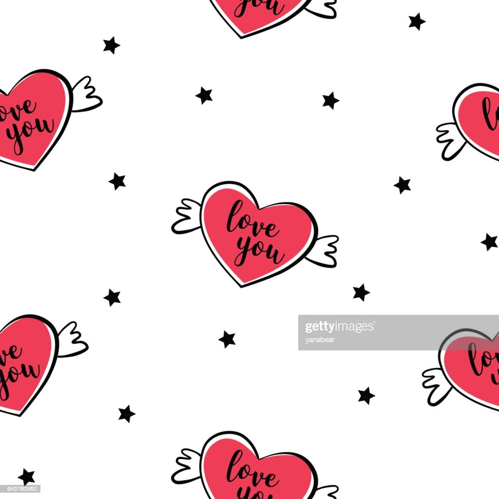 Seamless pattern with balloon heart with wings and stars. Cover for gift wrapping