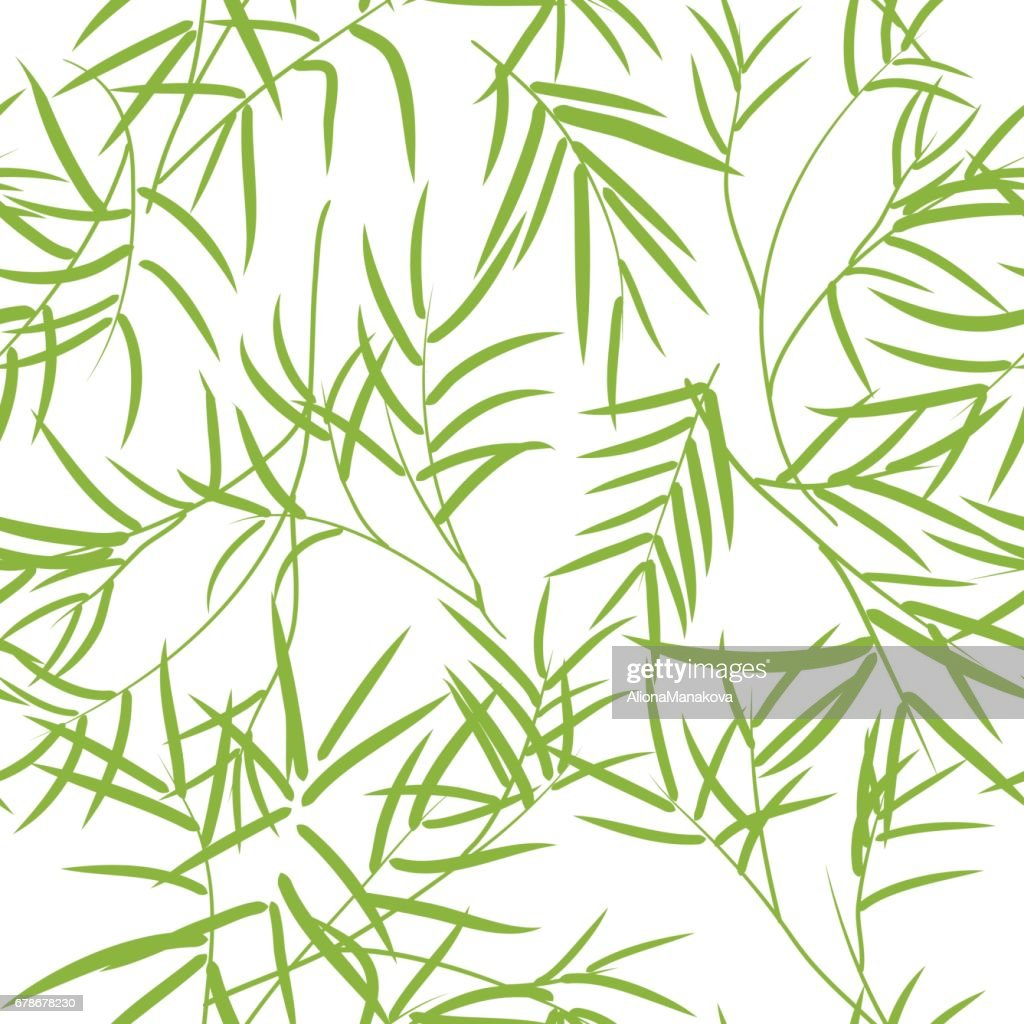 Seamless pattern with bamboo leaves.