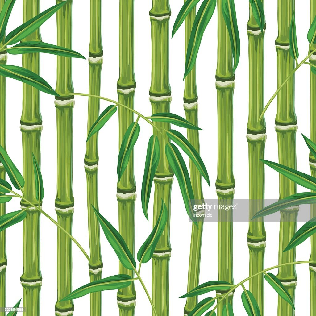 Seamless pattern with bamboo plants and leaves. Background made without