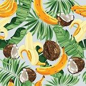 Seamless pattern with banana leaves, bananas and coconuts. Vector illustration.