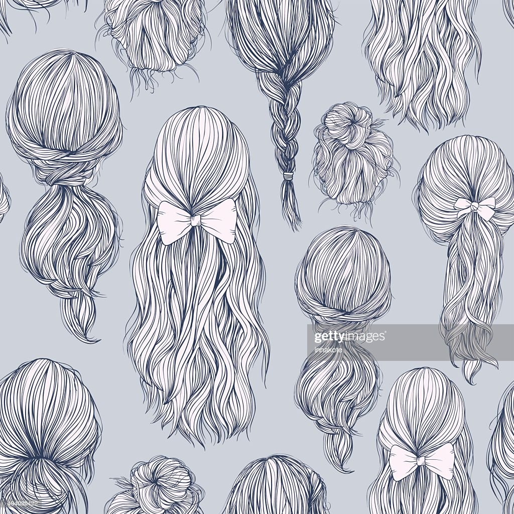 Seamless pattern with beautiful female hairstyle.