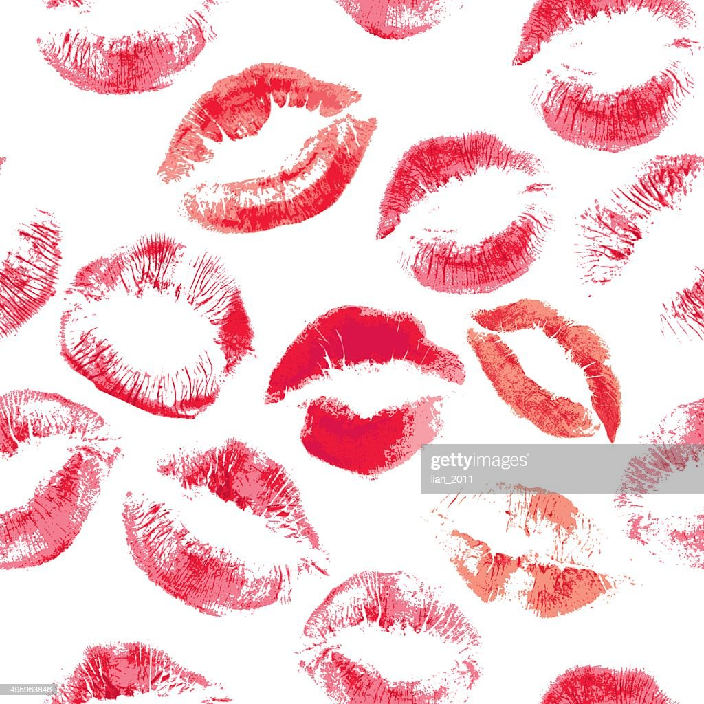 Seamless pattern with beautiful red colors lips prints