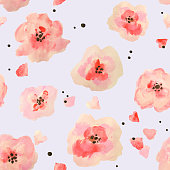 Seamless pattern with beautiful watercolor flowers on blue background